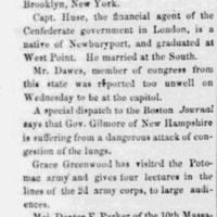 """""""Personal,"""" <em>Lowell Daily Citizen and News</em>, March 26 1864"""